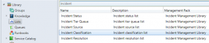 In what Management Pack is the list for Incident Classification1
