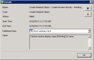 Orchestrator – Cannot resolve display name [Pending] to name1