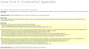 Service Manager Self-Service portal - Server Error in 'ContentHost' Application.