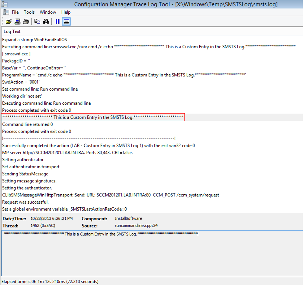 Add Custom Entry in the Configuration Manager SMSTS Log2