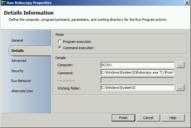 Copy files with Robocopy and create a htm report with Orchestrator