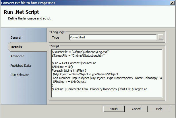 Copy files with Robocopy and create a htm report with Orchestrator3
