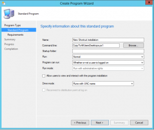 Deploy a shortcut with SCCM 20123