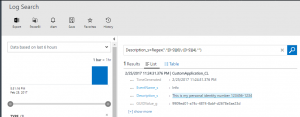 Find personal identity number in log search at Operations Management Suite