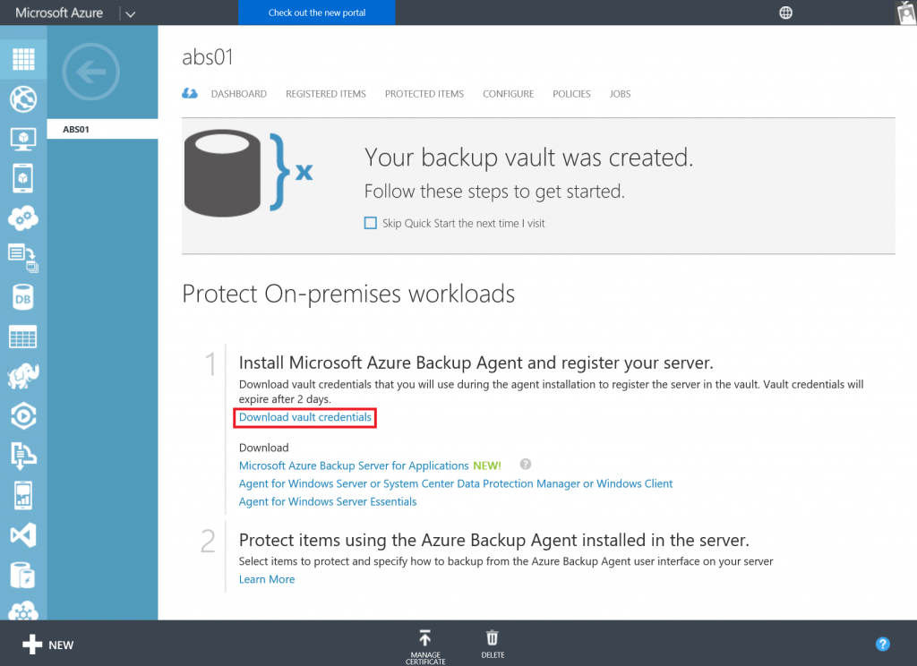 Get started with Azure Backup Server 1